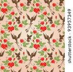shrub roses and birds. stylized ... | Shutterstock .eps vector #93957349