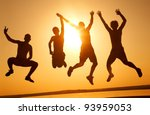 group of happy young people... | Shutterstock . vector #93959053