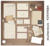 vector set  vintage postcard ... | Shutterstock .eps vector #93959884