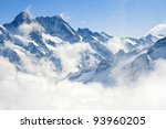 Alpine Alps mountain landscape at Jungfraujoch, Top of Europe Switzerland - stock photo