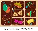 happy purim  jewish holiday | Shutterstock .eps vector #93977878