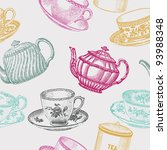 Stock vector vintage tea porcelain seamless pattern 93988348