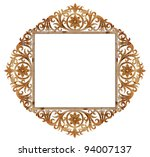 ancient sculpture wood frame isolated on white background - stock photo