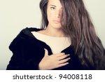 woman in luxury expensive mink... | Shutterstock . vector #94008118