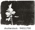 Pine Silhouette On Grunge...
