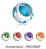 abstract 3d vector sphere set   Shutterstock .eps vector #94019869