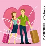 the young couple on vacations | Shutterstock .eps vector #94051270