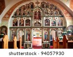 Small photo of Orthodox church inside, with the rich decorated altar screen.
