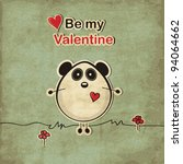 Vintage Love Card With Panda...