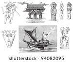 Malaysia culture - Vintage illustration / illustration from Meyers Konversations-Lexikon 1897