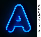 Highly detailed neon sign with the letter A - stock photo