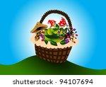 shopping basket with vegetables   Shutterstock .eps vector #94107694