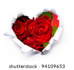 Stock photo art bouquet of red roses and the paper hearts on valentine s day 94109653
