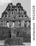Small photo of A fragment of an enfilade in the Uxmal (black and white) - Yucatan, Mexico