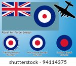 Royal Air Force graphic theme. Flag and aircraft roundel. Fully editable vector, data are in layers.