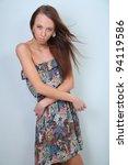 slim model posing in a colorful ... | Shutterstock . vector #94119586