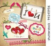 vintage sweet memo scrapbook... | Shutterstock .eps vector #94145956