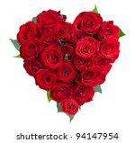 Rose Flowers Heart Over White....
