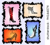 shoes and boots set | Shutterstock .eps vector #94166074
