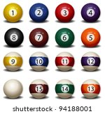 complete set of billiard balls | Shutterstock .eps vector #94188001