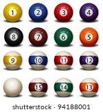 complete set of billiard balls | Shutterstock .eps vector #94188001