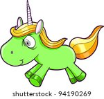 Toxic Crazy Green Unicorn Animal Vector Illustration Art - stock vector