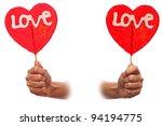 Sweet valentine lollipop on white - stock photo