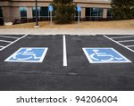 Handicapped Parking Spaces at Office Building - stock photo
