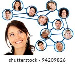 woman looking to her social... | Shutterstock . vector #94209826