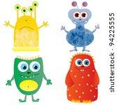 set of cute cartoon monsters.... | Shutterstock .eps vector #94225555