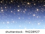 blue gradient background blotched with shiny stars - stock photo