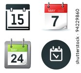 calendar and date icons and simple symbols - stock vector