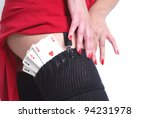 sexy woman have poker cards in her stocks - stock photo
