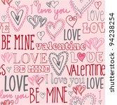 be mine doodle vector | Shutterstock .eps vector #94238254