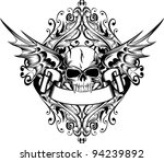 Vector Image Skull With Wings...