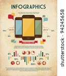 retro vector set of infographic ... | Shutterstock .eps vector #94245658