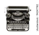 Antique Typewriter Against A...