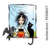 baby witch with black cat ... | Shutterstock .eps vector #94268017