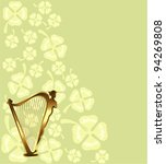 antique,background,card,celebrate,celebration,clover,day,decoration,festive,gold,green,greeting,harp,holiday,illustration