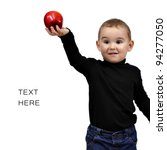 Stock photo to be like steve jobs kid boy with red apple 94277050
