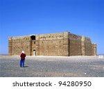 Qasr Kharana , sometimes Qasr al Harrana, Qasr al Kharanah, Kharaneh or Hraneh, is one of the best-known of the desert castles located in present-day eastern Jordan - stock photo