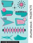 set of ten retro  1950 s style... | Shutterstock .eps vector #94287475