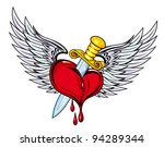 heart with sword and wings in... | Shutterstock . vector #94289344