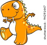 Crazy Insane Orange Dinosaur T-Rex Vector Illustration Art - stock vector
