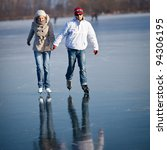 couple ice skating outdoors on... | Shutterstock . vector #94306195