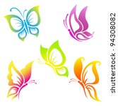 Stock vector beautiful butterfly icon set 94308082
