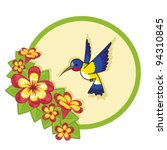 vector hummingbird with flowers | Shutterstock .eps vector #94310845