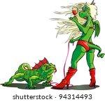 dragon walking a large lizard | Shutterstock .eps vector #94314493