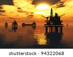 Sea Oil Platform And Tanker In...
