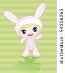 anime girl in pink bunny costume | Shutterstock .eps vector #94326265